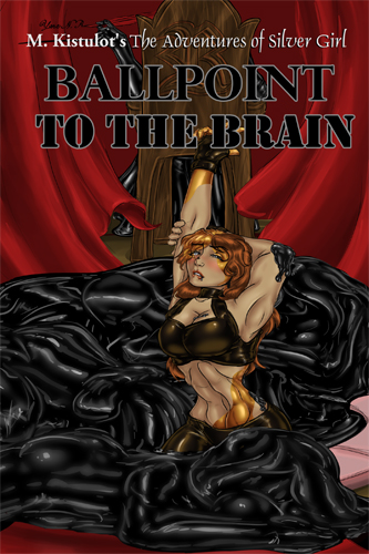Cover of Ballpoint to the Brain, with Olivia half gold, dripping with black, surrounded by women wrapped up in latex-like black.