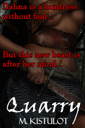 The cover for Quarry, a half-armored, scantily clad woman with the words