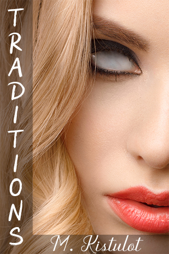 A blonde woman with only white eyes, pink painted lips, the cover for Traditions by M. Kistulot